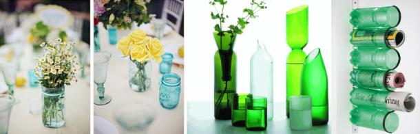 garrafas de plastico e vidro