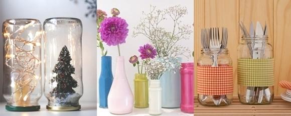 Ideias para reciclar frascos de vidro 3